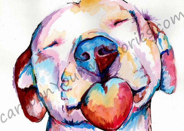 Pit bull watercolor print