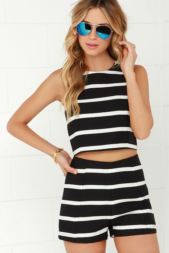 Come Alive Ivory and Black Striped Two-Piece Set at Lulus.com!