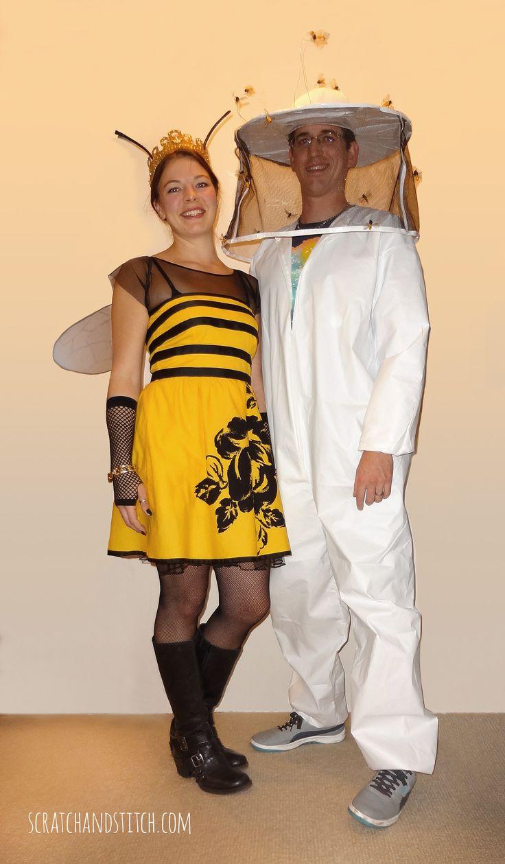 Queen Bee Costume & Beekeeper Costume DIY  | Couples Costume Ideas- scratchandstitch.com