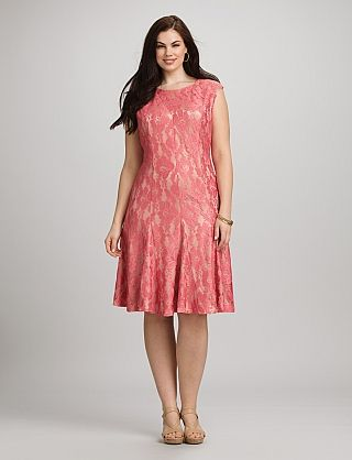 Plus Size Coral Lace Dress | Dressbarn