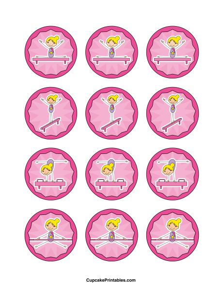Gymnastics cupcake toppers. Use the circles for cupcakes, party favor tags, and more. Free printable PDF download at http://cupcakeprintables.com/toppers/gymnastics-cupcake-toppers/