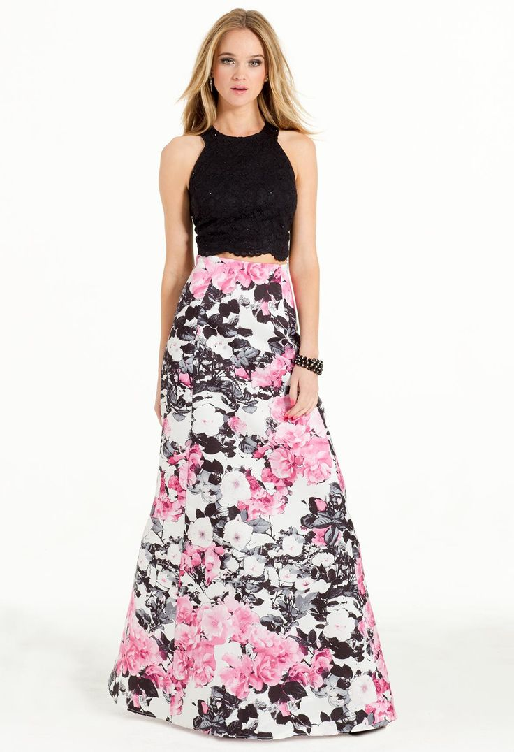 Lace and Floral Two-Piece Prom Dress #camillelavie #CLVprom