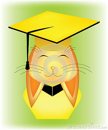 #Rabbit #bust in yellow #graduation #cap and #costume, on green background