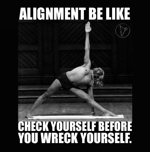 "Alignment be like ""Check yourself before you wreck yourself."" Triangle pose with BKS Iyengar. yoga memes"