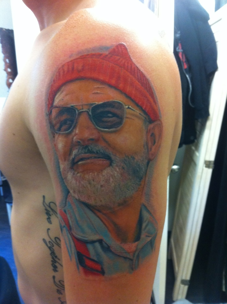 """""""This is my largest tattoo and undoubtedly my favourite. Bill Murray epitomises everything that I aspire to be and this tattoo reminds me everyday that life is an adventure and we can't let things weigh us down. It was done by the incredible Norbert at Inner Vision Tattoo in Sydney  P.S. I showed him the tattoo at Royal Tenenbaums 10th anniversary screening today and he approved"""" via fuckyeahtattoos."""