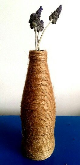 Rustic vase- simply wrap a bottle in twine and glue in place with craft glue. I used old bundy lemon lime & bitters bottles