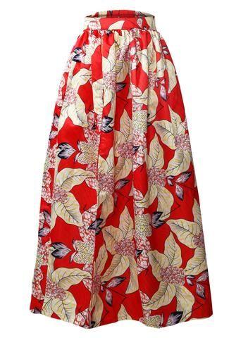 Jupe Longue Taille Haute Wax Rouge Fleurie Imprime Fendu #jupelongue #jupewax #jupefleurie