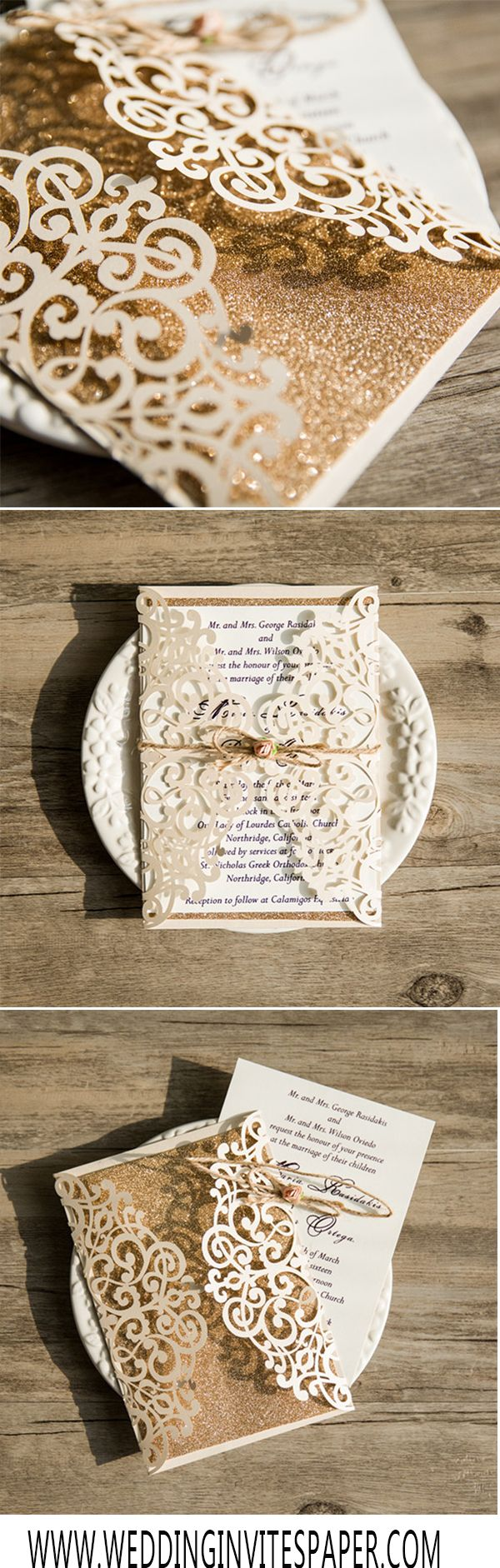 diy wedding invites rustic%0A Cheap Ivory Laser Cut Gold Glittery Wedding Invitation WLC