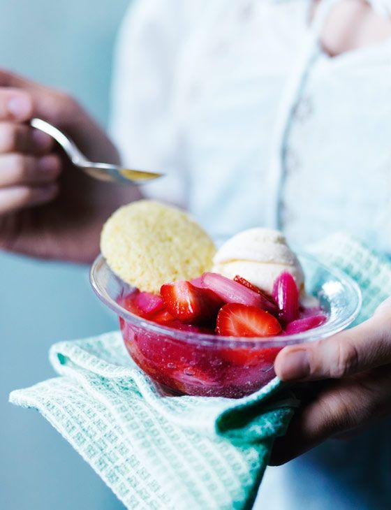 Sam Harris' rhubarb and strawberries with semolina biscuits http://www.sainsburysmagazine.co.uk/recipes/desserts/fruit/item/rhubarb-and-strawberries-with-semolina-biscuits