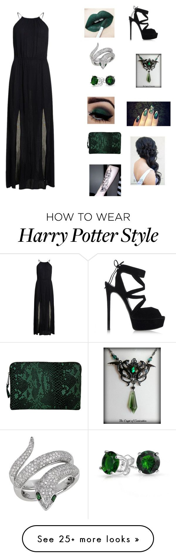 """Slytherin Yule ball "" by queenofdarkness22 on Polyvore featuring Superdry, Effy Jewelry, Bling Jewelry, Inge Christopher and Casadei"