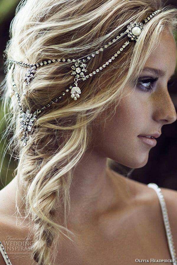 Gorgeous bridal side braid, messy, blonde hair and diamond hair ornament