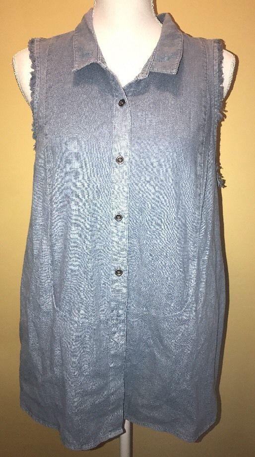 Free People Sleeveless Denim Shirt Top Cut off Sleeves Pockets Women's Size M    eBay