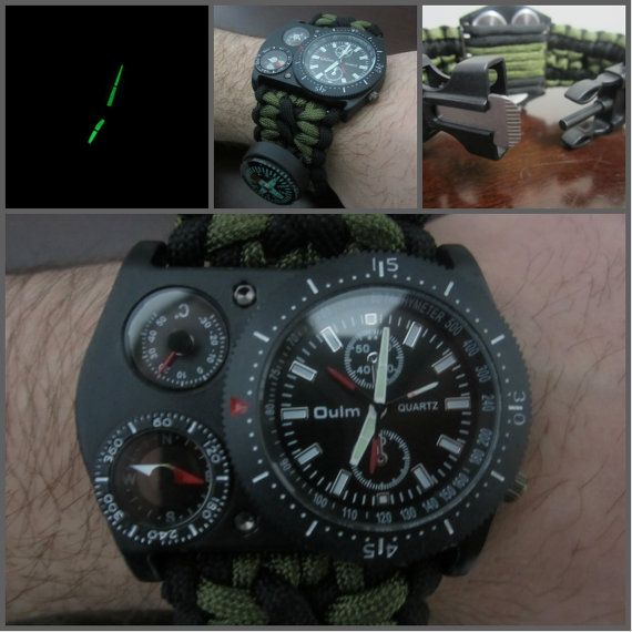 Paracord Tactical Survival Watch w/ Flint Compass Razor Knife Thermometer Whistle Black