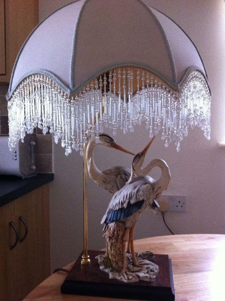 Rare Giuseppe Armani Pair Of Herons On Lamp Base Amp Shade