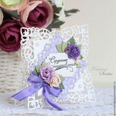 Wedding card / Свадебные открытки ручной работы. Ярмарка Мастеров - ручная работа. Купить Ажурная открытка для сердечных поздравлений. Handmade. Сиреневый