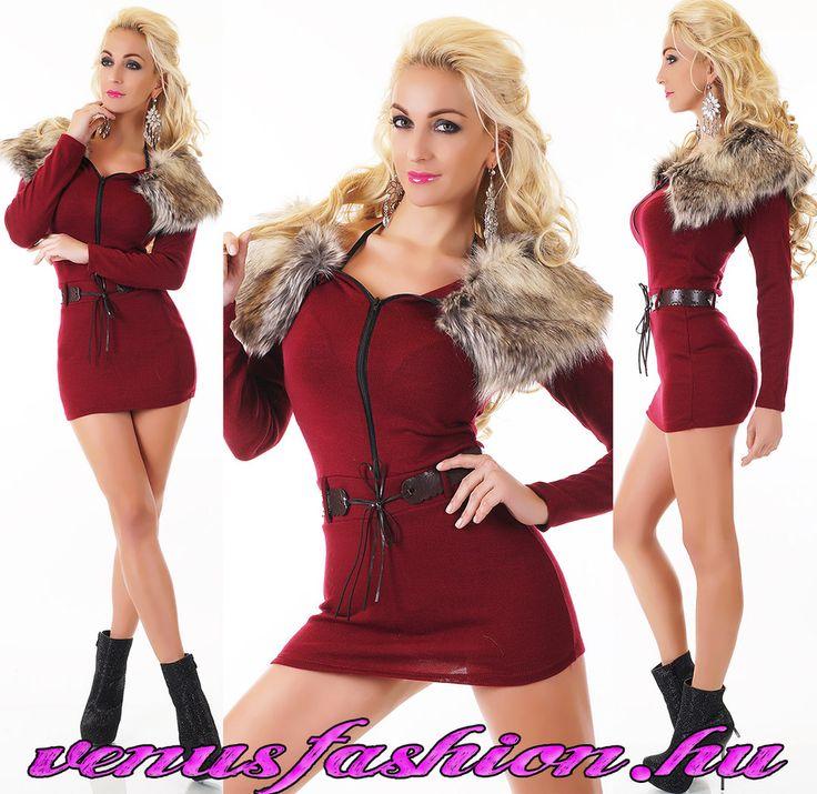 Divatos bordó prémes női pulóver övvel - Venus fashion női ruha webáruház