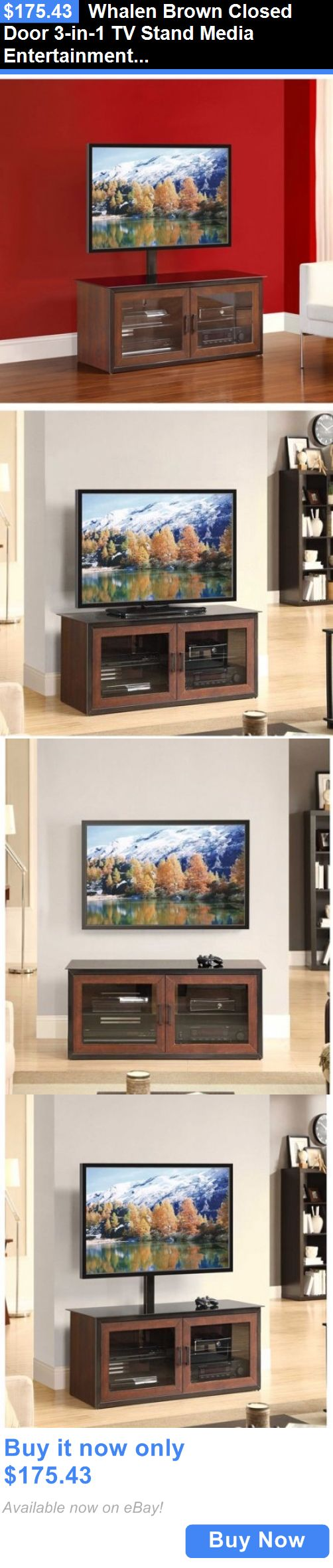 Entertainment Units TV Stands: Whalen Brown Closed Door 3-In-1 Tv Stand Media Entertainment Center Furniture BUY IT NOW ONLY: $175.43