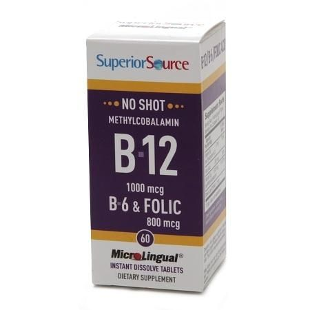 Superior Source No Shot Methylcobalamin B12/B6/Folic Acid 800mcg, Dissolve Tablets - 60 ea