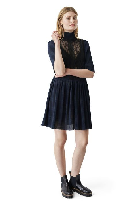 Ganni New Arrivals | McKinney Pleat Dress, Total Eclipse