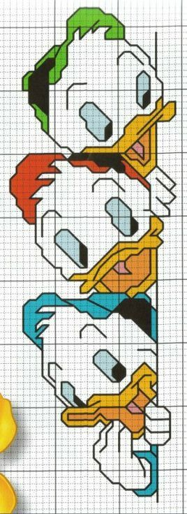Huey, Dewey, and Louie cross stitch pattern
