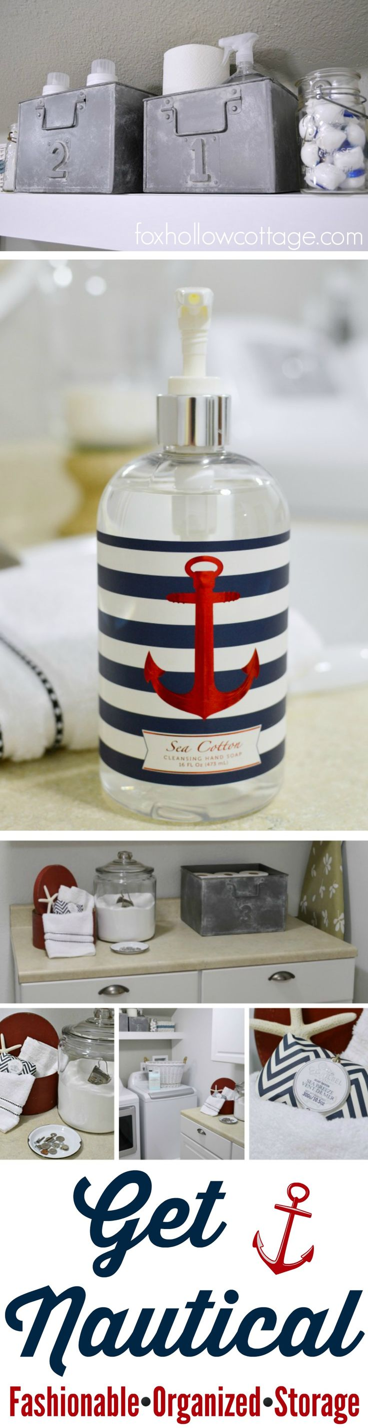 Bathroom Laundry Room Makeover: Nautical Decor, Organized Home Storage Solutions #homegoodshappy and DIY accents.