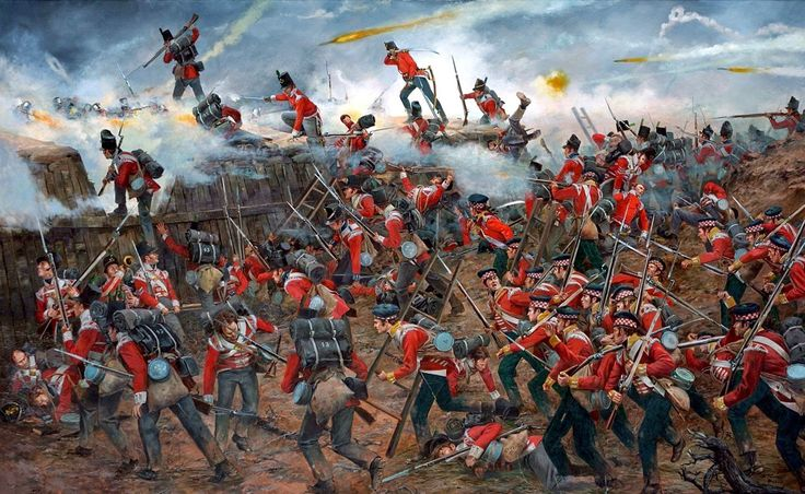 British attack on the American fortified ' Jackson' line at the Battle of New Orleans and shows members of the 85th LI, 43rd LI, 93rd Highlanders by Don Troiani