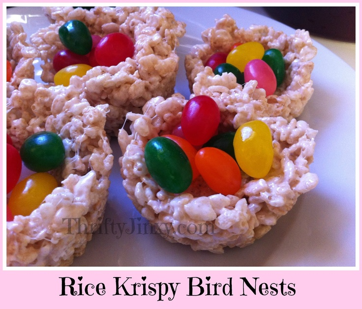 Thrifty Jinxy: Rice Krispy Bird Nests - An Edible Easter Basket!