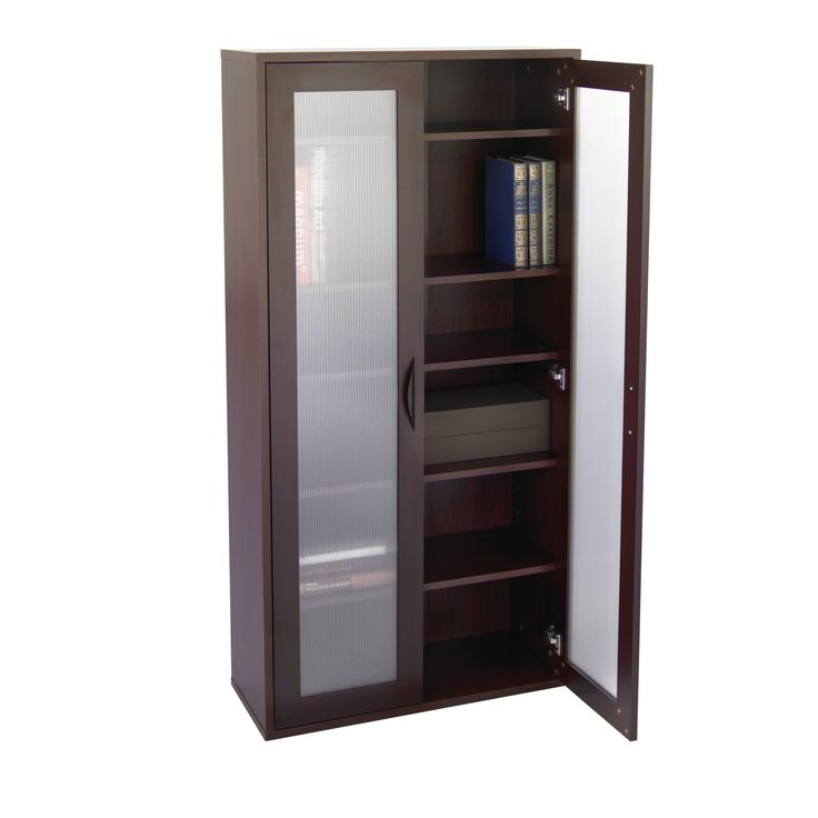 storage bookcase with glass doors tall mahogany - Cabinet With Glass Doors