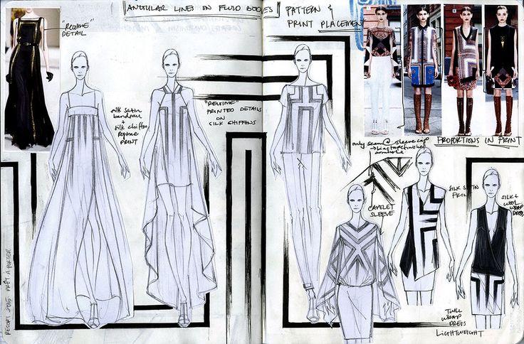 Fashion Sketchbook - fashion design development investigating pattern & print placement - fashion sketches & research; fashion portfolio // Arthur Aleksander