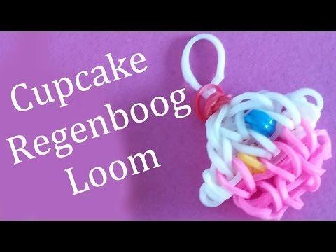 ▶ Regenboog Loom Nederlands Cupcake Hanger - YouTube