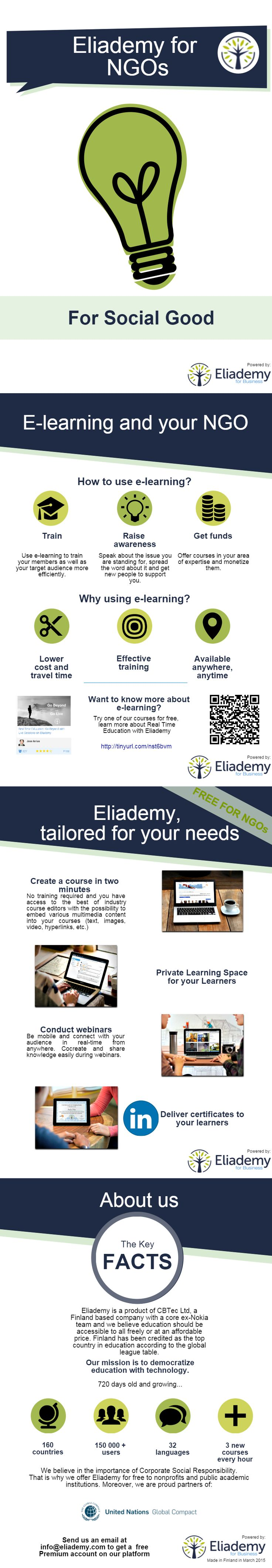 Eliademy for nonprofits. See how Eliademy is specially tailored for your needs! #ngo #socialgood #elearning #brochure