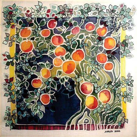 Peach Tree - Silk Painting - Marie Adamyan