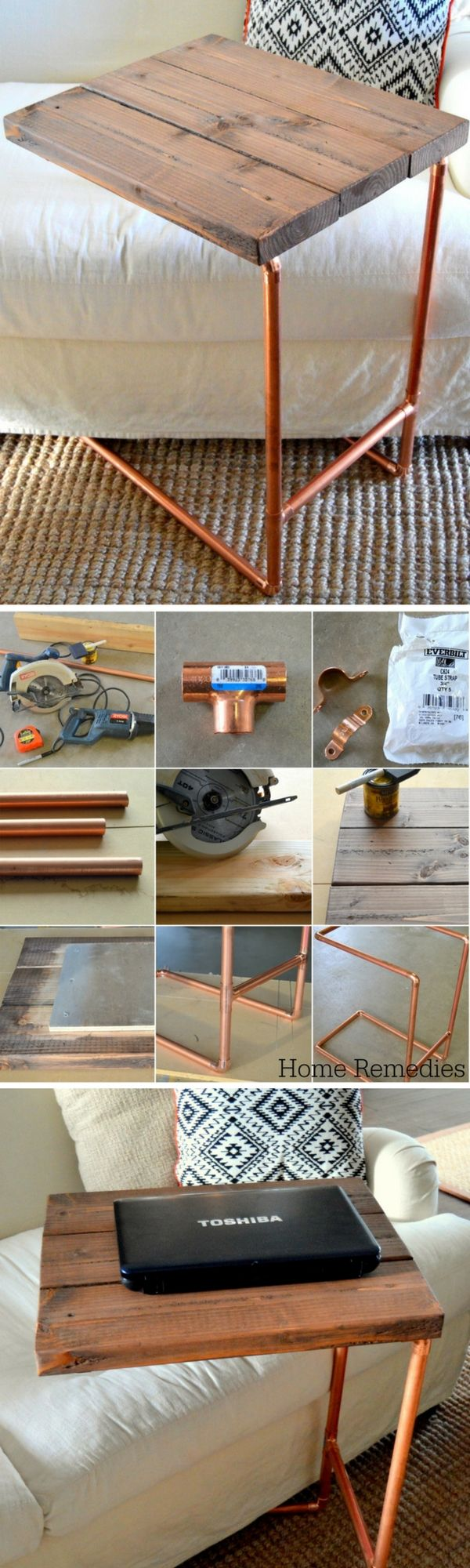 Check out this easy idea on how make a #DIY metal pipe laptop sofa side table #livingroom #homedecor #project #budget @istandarddesign