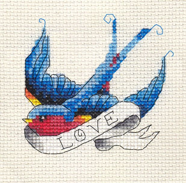 Bluebird Tattoo 'Love' Swallow Bird Full Counted Cross Stitch Kit Materials | eBay