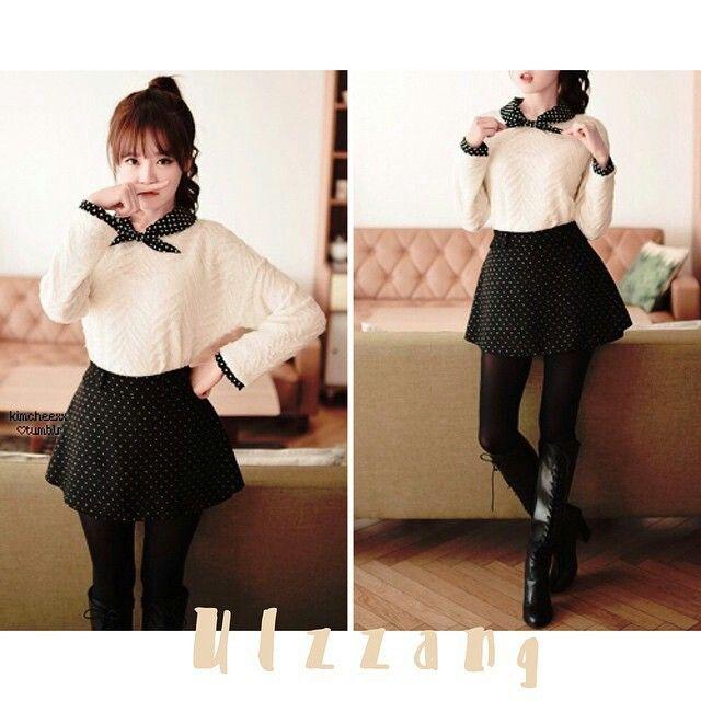 > witte trui > zwart rokje > zwart kraaghemdje
