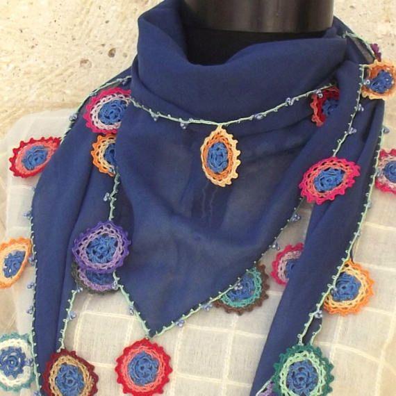 Turkish OYA Lace  Marin scarf Triangle  Indigo  by DaisyCappadocia