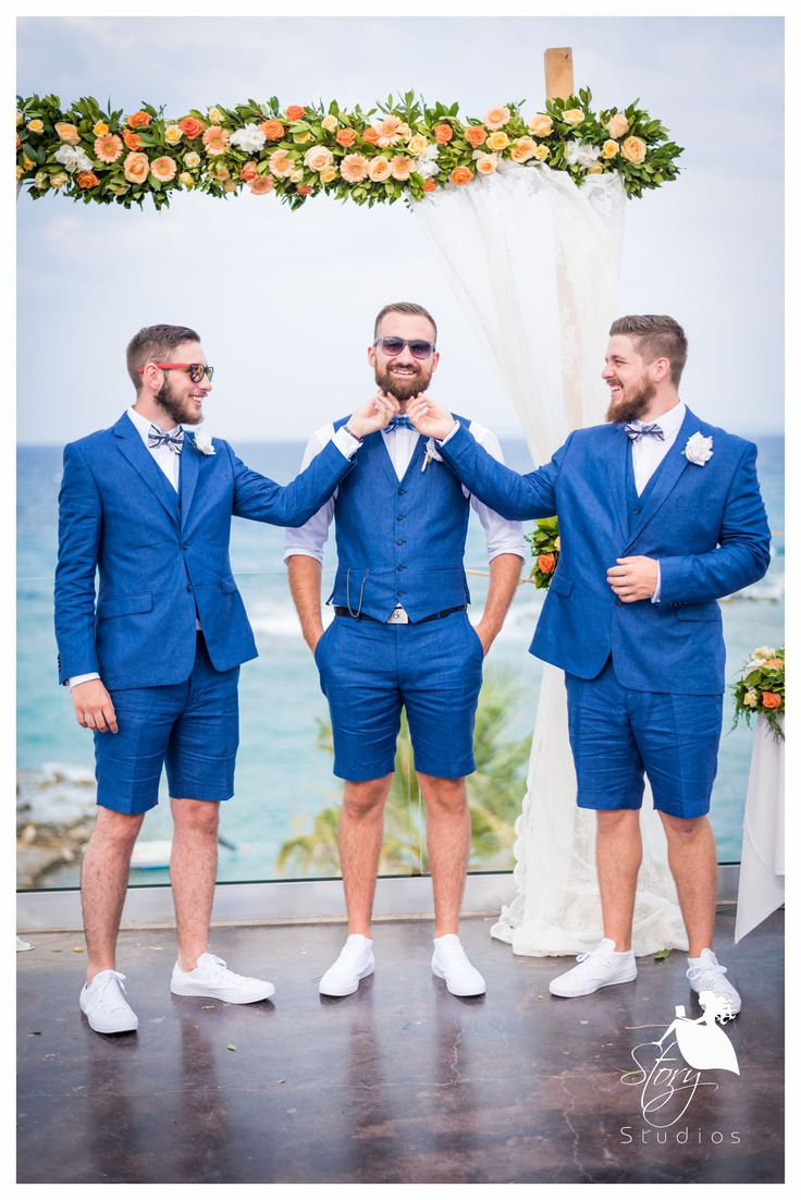 The groomsmen having some fun with the groom!