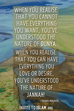 """invitetoislam: """"When you realise that you cannot have everything you want, you've understood the nature of dunya. When you realise that you can have everything you love or desire, you've understood... 
