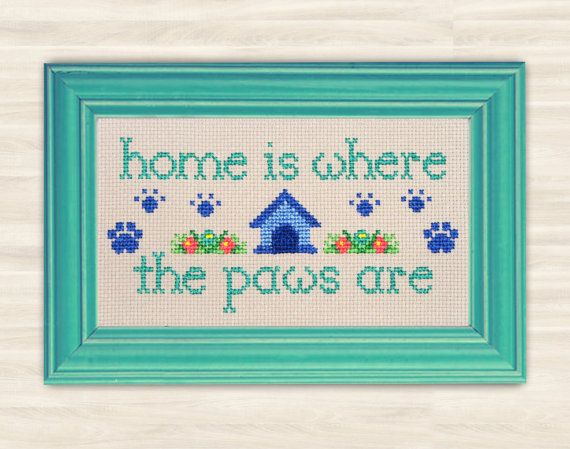 Paws Cross Stitch Pattern PDF home decor dog paws needlework animal lovers pattern dog kennel pattern embroidery doghouse Hand Made pet