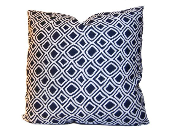 Trellis Decorative Pillow - Modern and Traditional Pillow Cover in a Geometric Lattice Pattern - Navy Blue & White - Throw Pillow