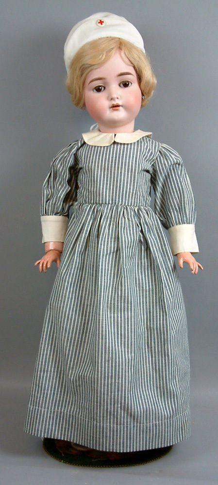 "Superb 29"" K R 191 Antiq German Doll w Antiq Nurse Costume w Tiny Baby Wowee | eBay"