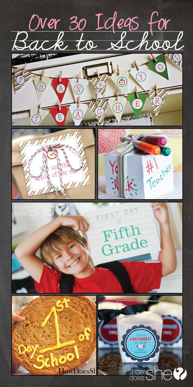 Over 30 Ideas including: Fun Traditions, Printables, DIY Teacher Gifts, and more for BACK TO SCHOOL! #backtoschool #teachers #printables www.howdoesshe.com