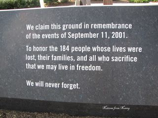 Pentagon Memorial: We Will Never Forget the 184 People Who Died on 9/11/2001.