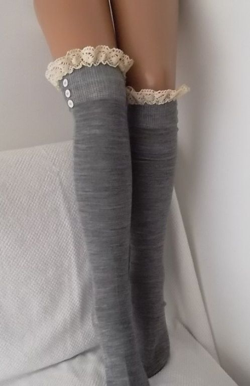 Gray Socks Boot socks boot cuffs leg warmers by CarnavalBoutique,
