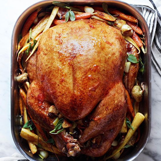 Homemade gravy and tender veggies make mouthwatering sidekicks for your classic #turkey dinner. More holiday recipes: http://www.bhg.com/recipes/from-better-homes-and-gardens/november-2012-recipes/?socsrc=bhgpin111212marmaladeturkey#page=36