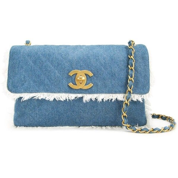 Chanel Vintage Jumbo XL Quilted Denim Shoulder Bag (263,300 DOP) ❤ liked on Polyvore featuring bags, handbags, shoulder bags, chanel, blue handbags, blue purse, denim purse, shoulder hand bags and quilted purses
