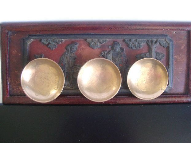 Brass Asian Bowl Set, Small Etched Vintage Chinese Bowls, Engraved Asian Condiment Bowl Set by RamblinRanch on Etsy