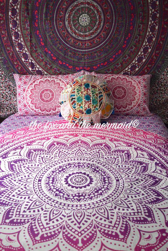 King Size Mandala Quilt Cover 2 Matching Pillowcases Boho Duvet
