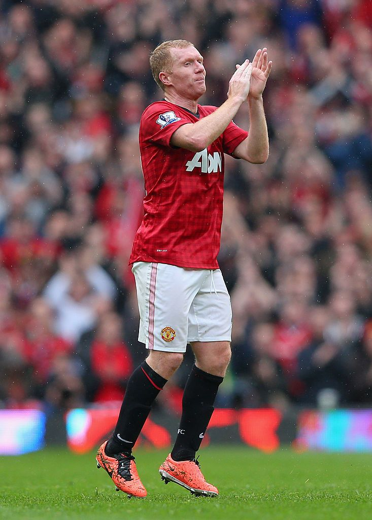 Manchester England May 12 Paul Scholes Of Manchester United Acknowledges The Crowd As He Is Substitute Manchester United Manchester Premier League Matches
