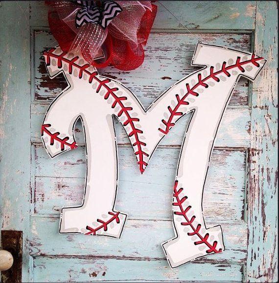 24 inch Baseball Initial door hanger baseball by BluePickleDesigns by esmeralda